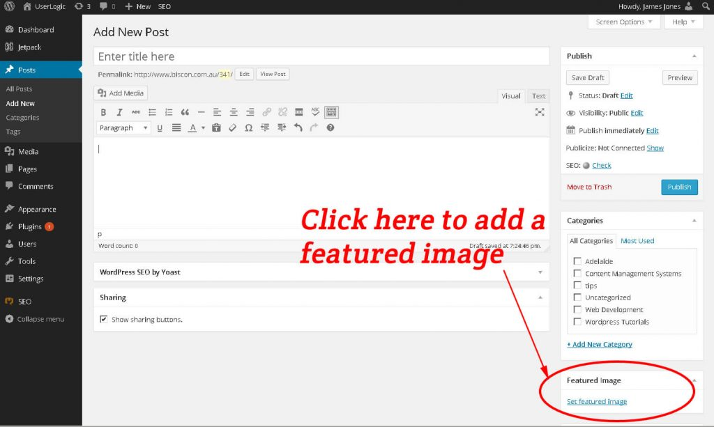 Wordpress post editing screen with link to add a featured image