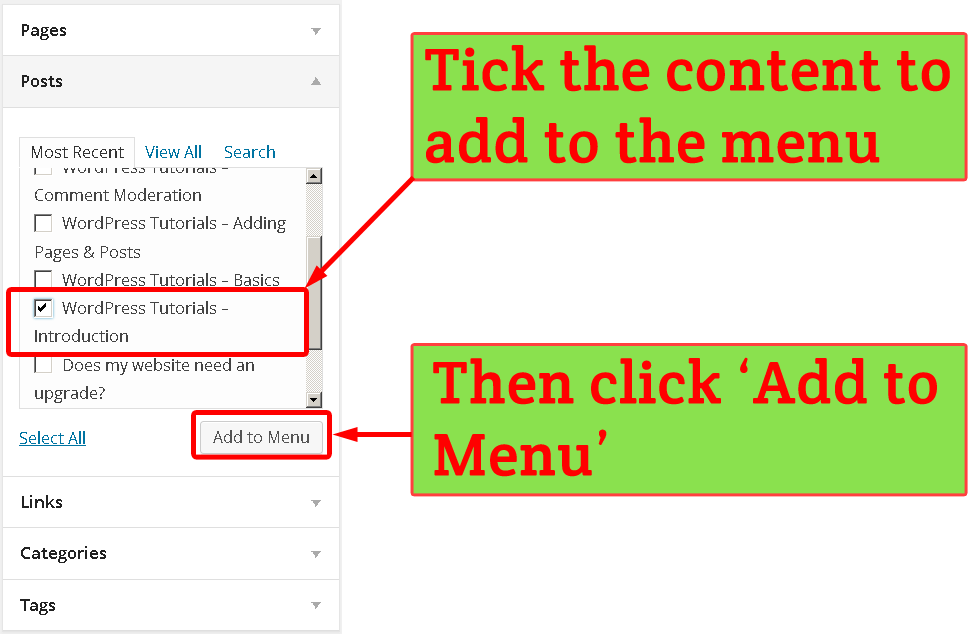 Adding WordPress Post to a menu