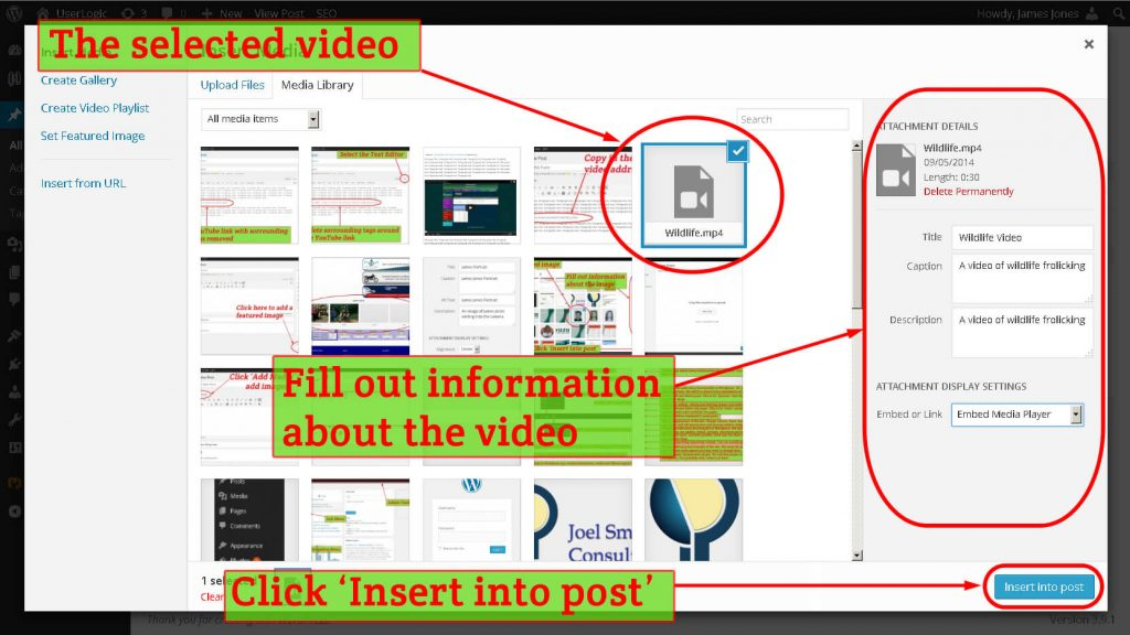 Inserting an uploaded video into a WordPress post