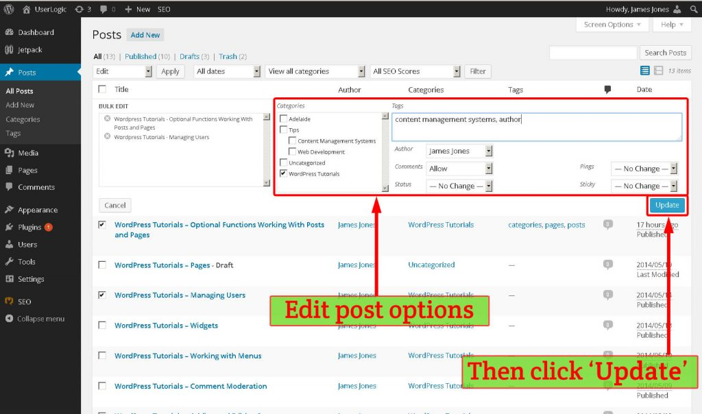 WordPress bulk options edit post dropdown