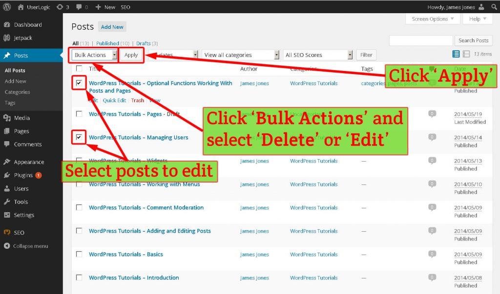 Selecting multiple WordPress posts in the post management screen