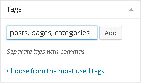 WordPress tags box separated by commas