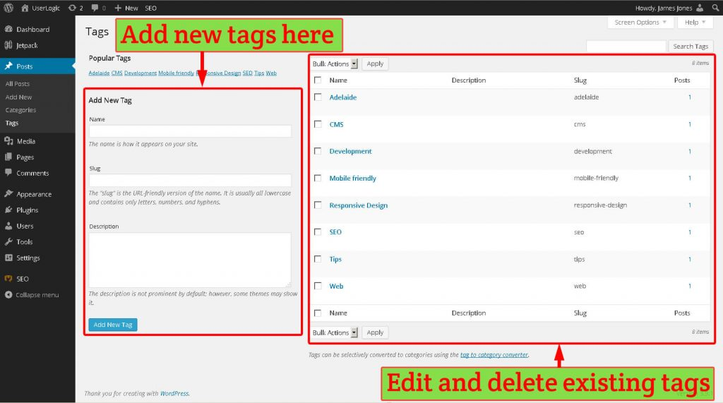 WordPress tags management screen